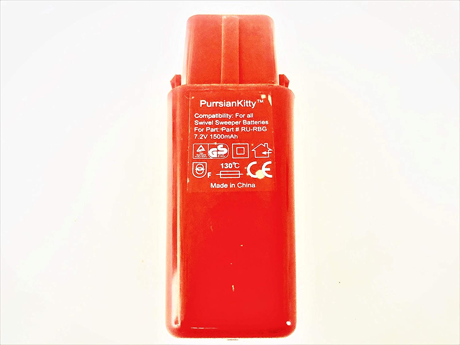 PurrsianKitty 7.2V 1500mAh Ni-MH Replacement Battery for Ontel Swivel Sweeper G1 G2 G3 G6 G8 Max - Replaces Part # RU-RBG - Red
