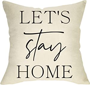 Softxpp Let's Stay Home Decorative Quote Throw Pillow Cover Quarantine Sign Cushion Case, Home Decorations Cotton Linen Outside Square Pillowcase Farmhouse Rustic Decor for Sofa Couch 18 x 18