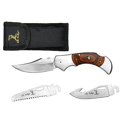 Elk Ridge Couteau de poche Hunter Brown bois Pakka, longueur cm: 12,7fermé, elkr de 1020