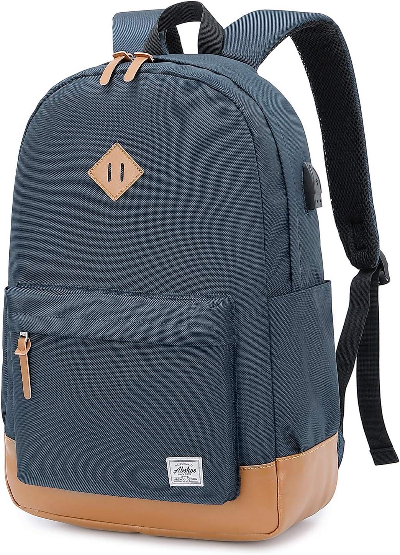 Abshoo Classical Basic Womens Travel Backpack For College Men Water Resistant Laptop School Bookbag (USB Navy)