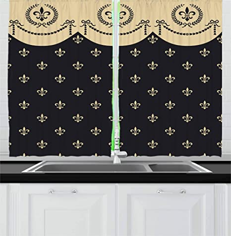 Amazon Com Ambesonne French Kitchen Curtains Pattern Of Fleur De Lis Illustration Baroque Inspired Print Window Drapes 2 Panel Set For Kitchen Cafe Decor 55 X 39 Charcoal Grey Home Kitchen