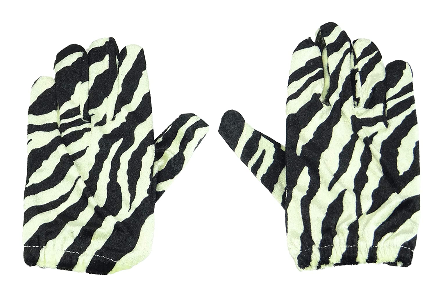 Black and Cream Zebra Print Short Gloves Fancy Dress// Animal Dress Up HW167