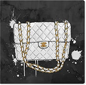"The Oliver Gal Artist Co. Fashion and Glam Wall Art Canvas Prints 'Everything But My White Bag' Home Décor, 20"" x 20"", Black, Gold"
