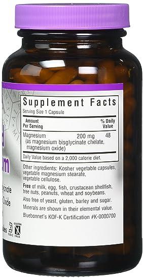 Buffered Quelato de magnesio, 120 Caps Veggie - Bluebonnet Nutrición: Amazon.es: Salud y cuidado personal