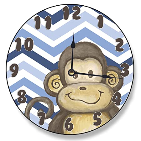 Stupell Home Décor Lil Buddy Monkey Blue Chevron Clock, 12 x 0.4 x 12, Proudly Made in USA