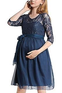 b20c5a34d98b Dance Fairy Molliya Vestito Premaman da Donna Pizzo Abiti Maniche 3 4 Collo  Rotondo Abito