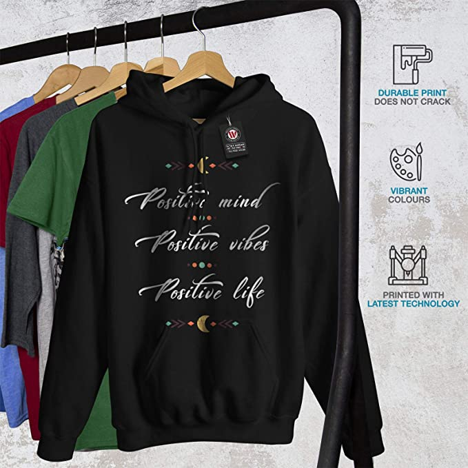 wellcoda Positive Mind Mens Sweatshirt Vibes Life Casual Jumper