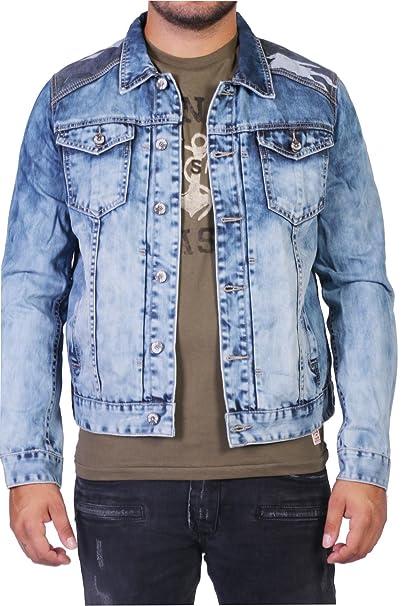 dosmil Hombre Jeans Chaqueta con camuflaje azul L