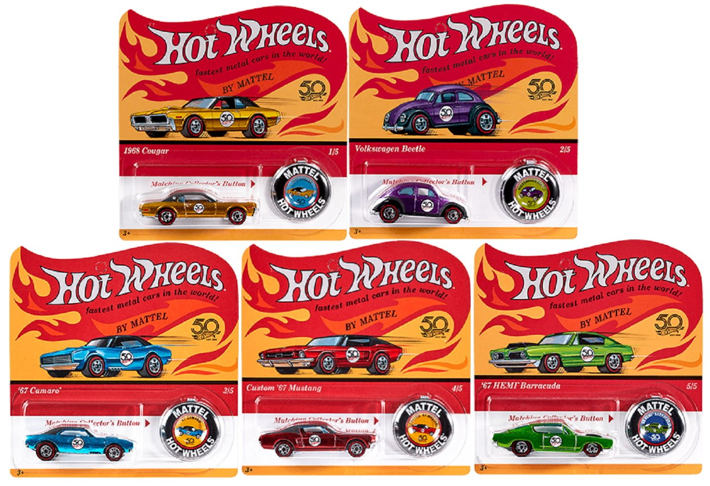 Hot Wheels 2018 50th Anniversary Originals Redlines Series Complete Set of 5 1/64 Diecast Cars, w/Button