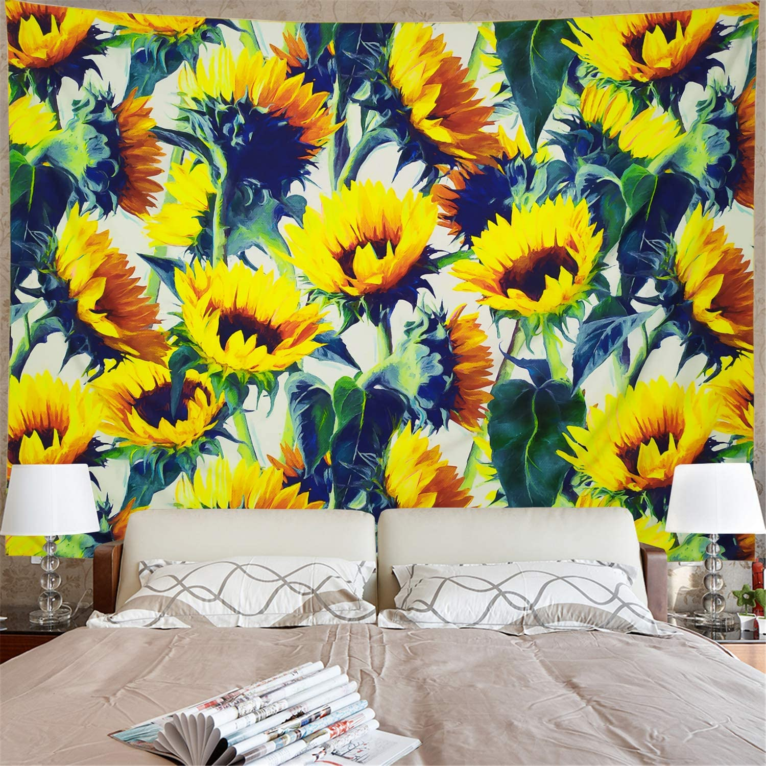 """Sunflowers Tapestry Yellow Sunflower Wall hanging Tapestry Watercolor Plant Printed Wall Tapestry Bohemian Bloom Sunflower Flower Tapestry Hippy for Living Room Bedroom Dorm Room(M/51""""×59"""")"""