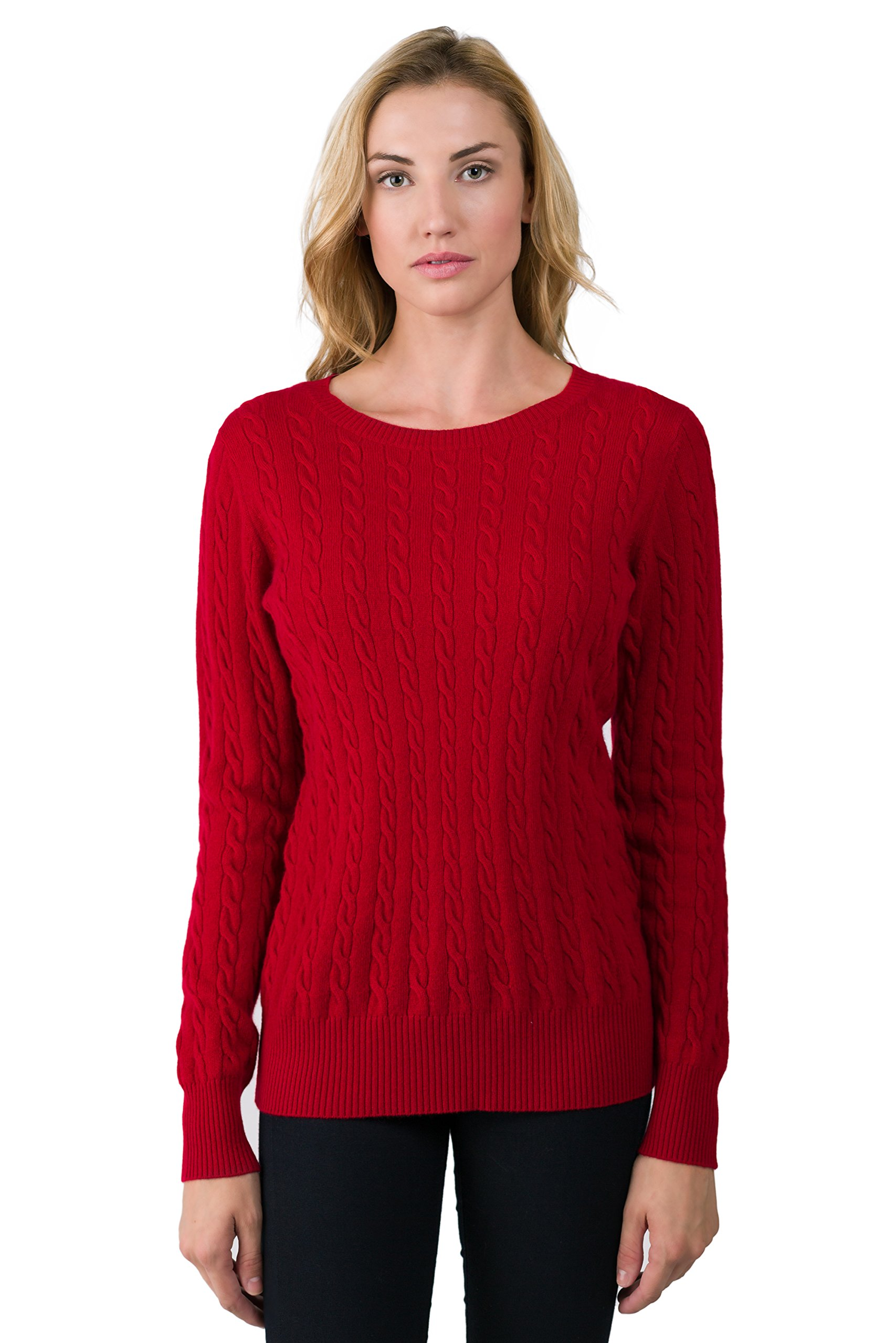 JENNIE LIU J Cashmere Women's 100% Cashmere Long Sleeve Pullover Cable Crewneck Sweater Red Large