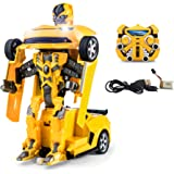 2.4Ghz Chevrolet Camaro Bumblebee Style Transformers Robot RC Remote Control Car - One Touch Transform Talking Autobot 2WD Radio Controlled Drifting Car with Sound FX, Lights, Rechargeable PL9131