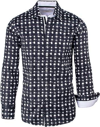 Navy with Burgundy Pattern Tiglio Sport Shirt Modern Fit