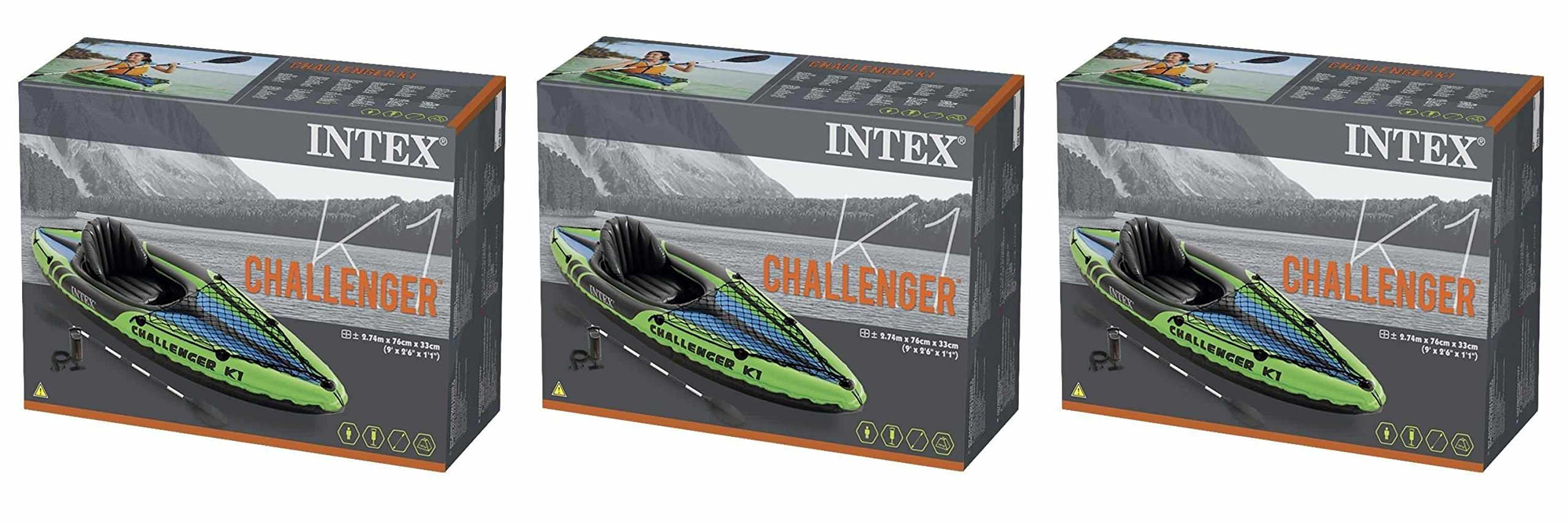 Intex Challenger K1 1-Person Inflatable Sporty Kayak + Oars And Pump | SHIPS SAME DAY FREE AIR PUMP INCLUDED