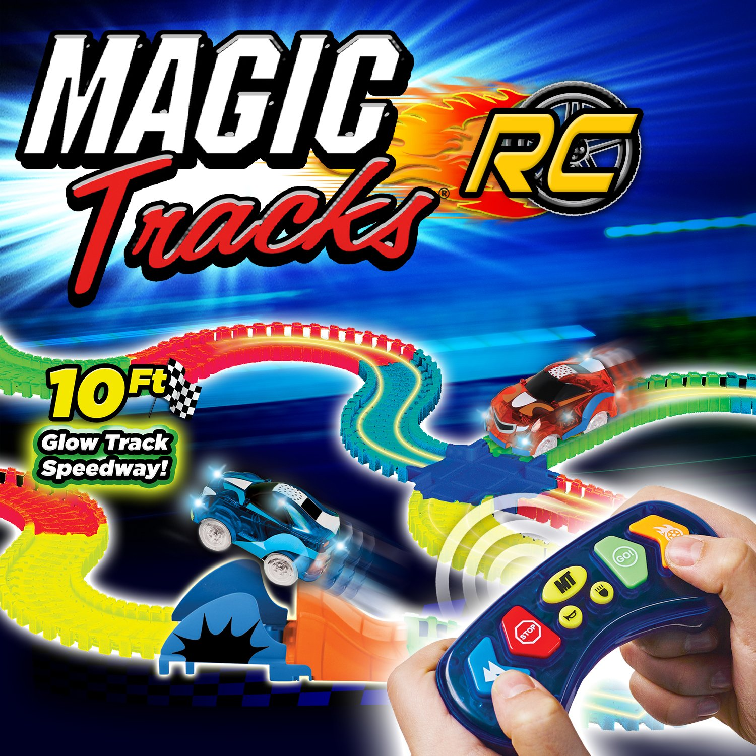 Ontel Magic Tracks Rc With Remote Control Turbo Race Gamis Onthel Series Cars And 10 Ft Of Flexible Bendable Glow In The Dark Racetrack As Seen On Tv Home