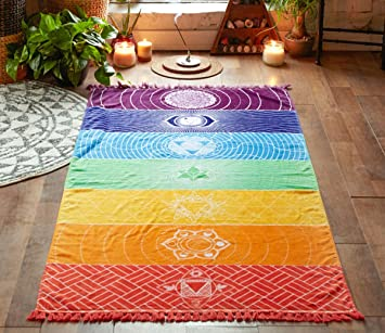 Bohemia único Rainbow 7 Chakra toalla de tapiz Mandala Hippie Boho rayas yoga mat: Amazon.es: Hogar