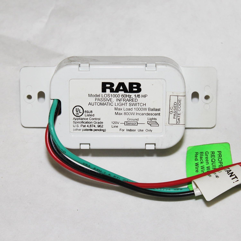 RAB Lighting LOS1000 Occupancy Sensor 1000W Automatic Wall Switch ...
