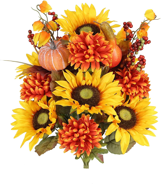 Admired By Nature ABN3B002-GD-OR 18 Stems Home Office/Wedding/Restaurant Decoration Arrangement Artificial Sunflower/Mum/Zinna Mixed Flowers Bush, 1. Gold Orange