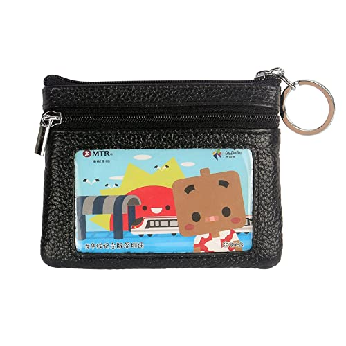 2896483d82d2 DukeTea Small Leather Zipper Change Purse Coin Wallet with Keychain Black