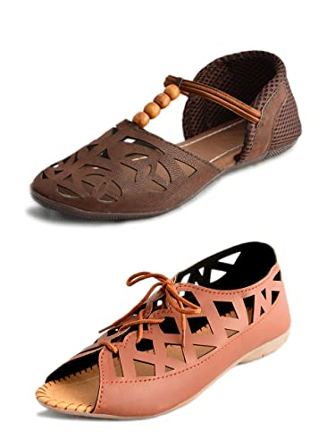 cf8a2357ec9f1 Myra Women s Brown Combo Of 2 Flat Sandals - 8  Buy Online at Low ...