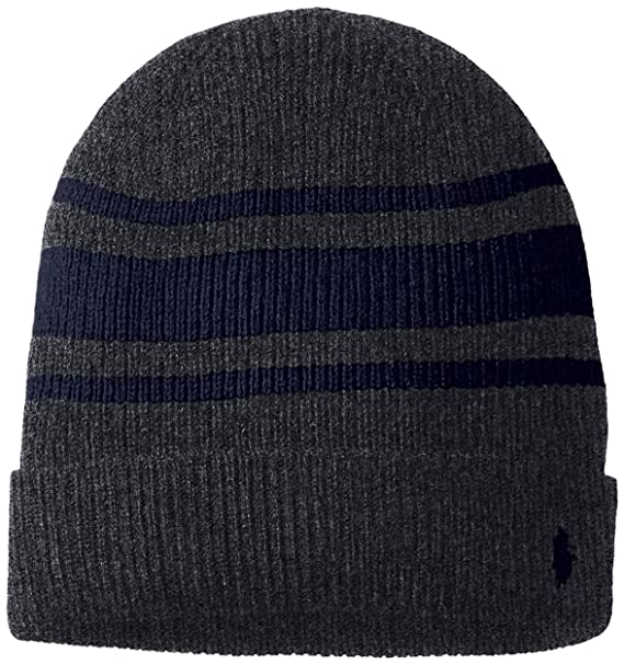 Polo Ralph Lauren Rugby Stripe Wool-Cashmere Beanie (Charcoal Hunter  (PC0091-003 4c851ef1d98