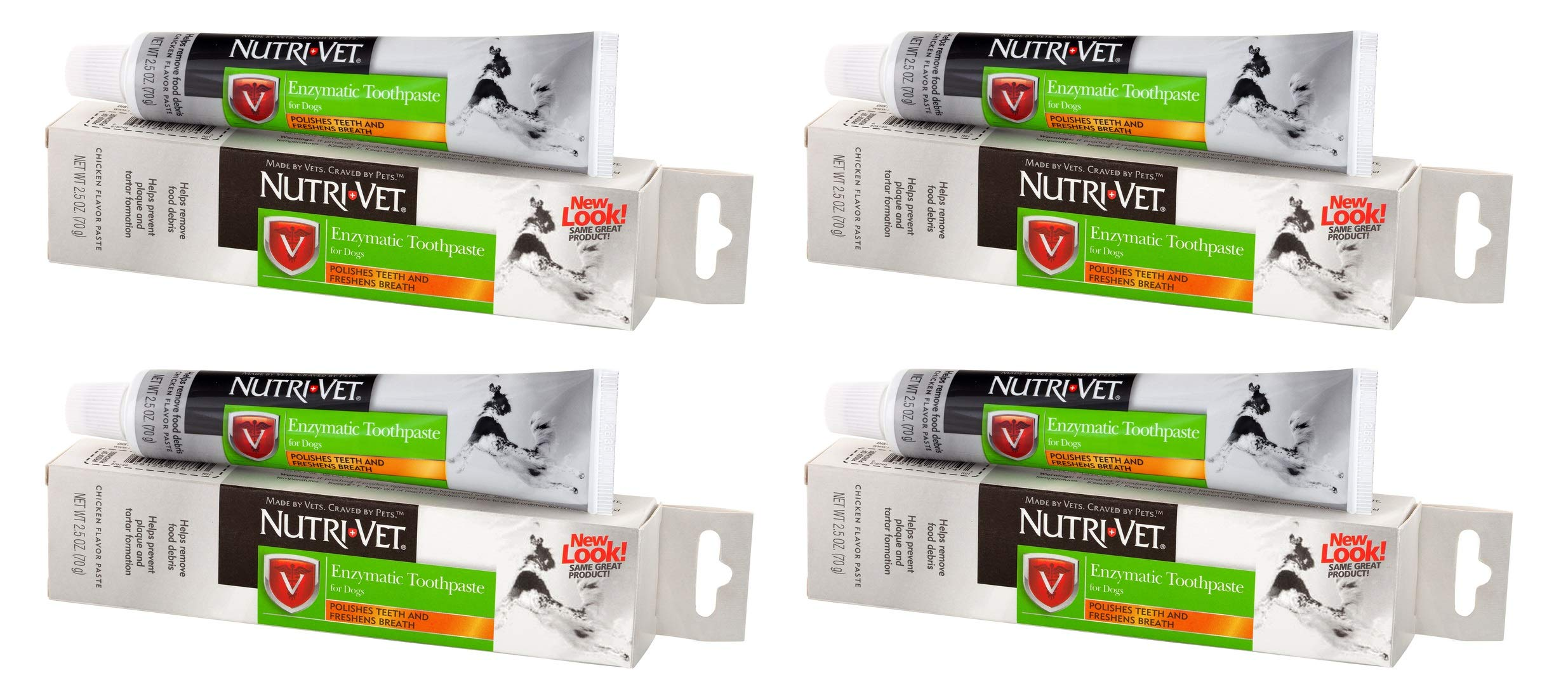 Nutri-Vet 4 Pack of Enzymatic Toothpaste for Dogs, 2.5 Ounces Each, Chicken Flavor by Nutri-Vet