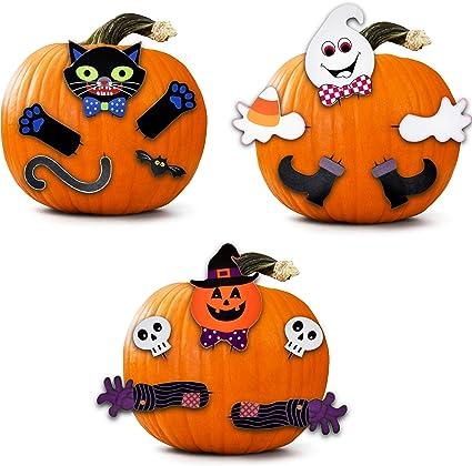 Amazon Com 3 Pack Halloween Wooden Pumpkin Decorating Kit Make A