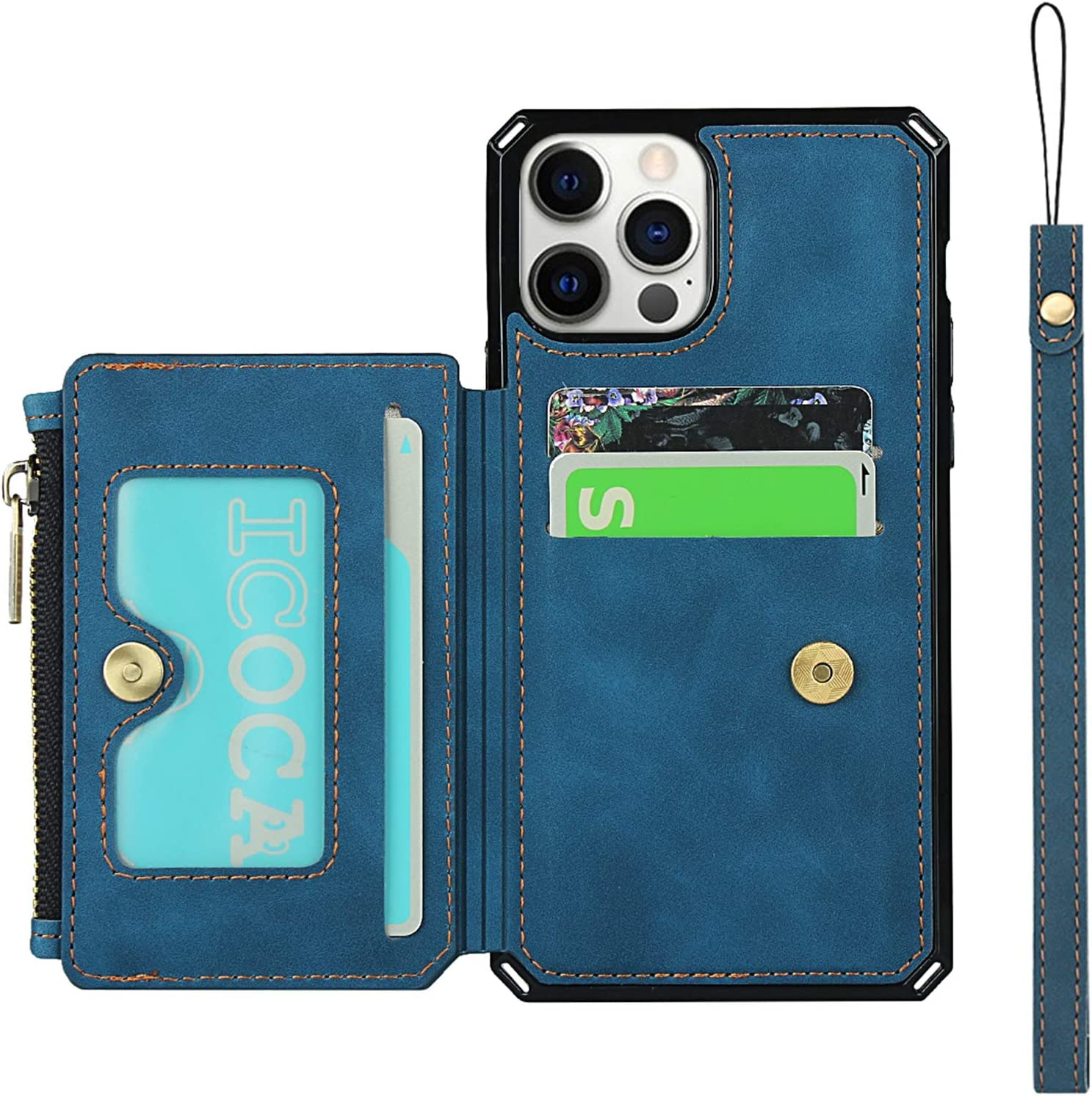 Jaorty Wallet Case with Card Holder for iPhone 12 Pro Max,RFID Blocking Luxury PU Leather Kickstand Card Slots,Magnetic Clasp and Wrist Strap Zipper Pocket Flip Case for iPhone 12 Pro Max 6.7