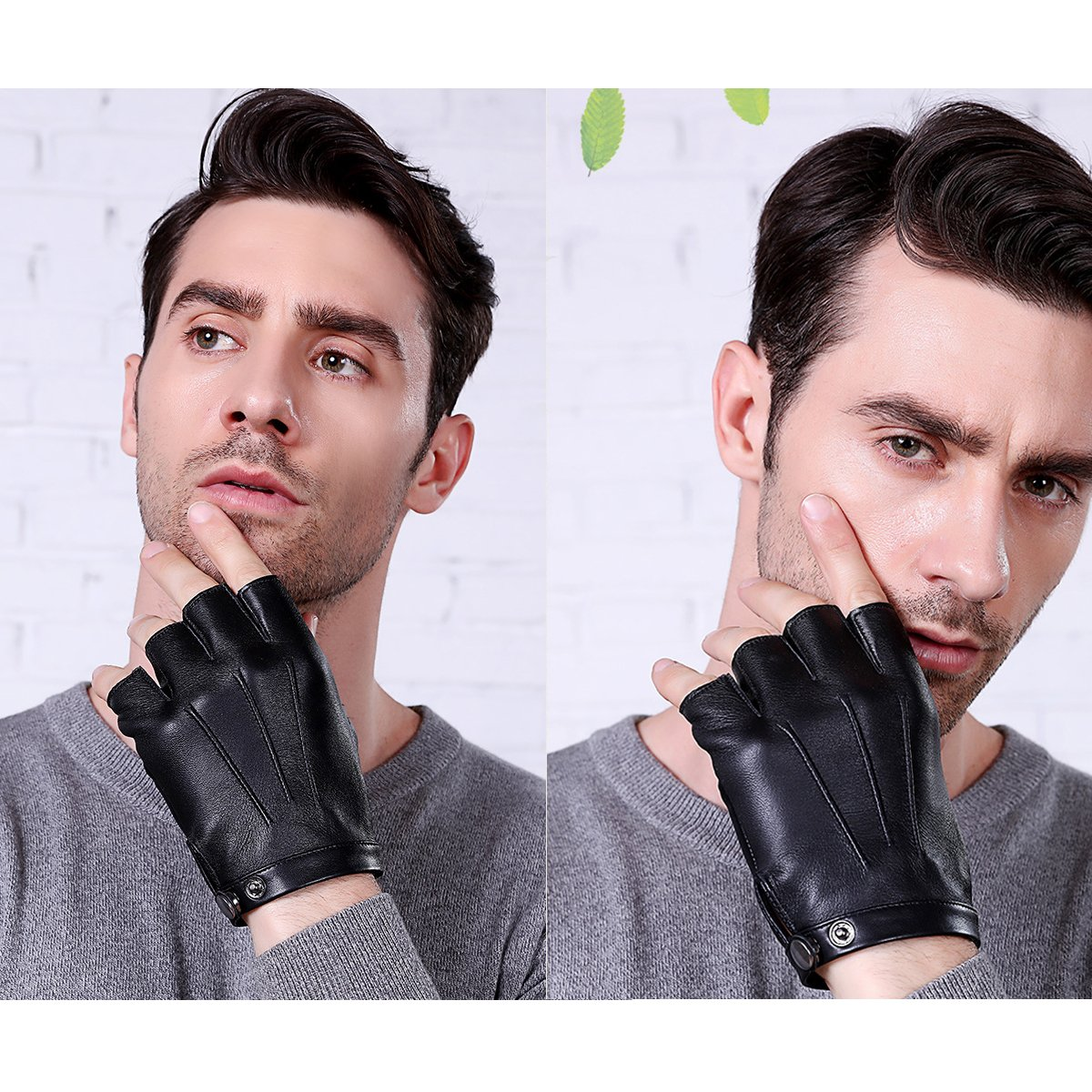 Fingerless Gloves PU Leather Gloves Touchscreen Texting Dress Driving Moto Glove for Men Women Teens (L) by gloveslove (Image #5)