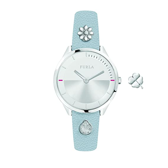 537040e3c4 Image Unavailable. Image not available for. Color: Furla Women's  R4251112508 Pin Silver Dial With Blue Leather Calfskin Band Watch.
