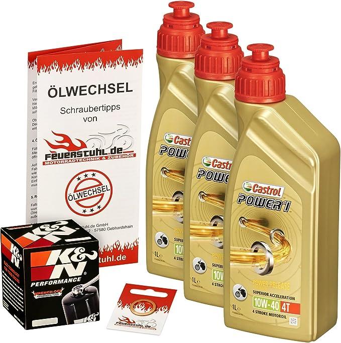 Castrol 10w 40 Öl K N Ölfilter Für Yamaha Yzf R1 98 01 Rn01 Rn04 Ölwechselset Inkl Motoröl Filter Dichtring Auto