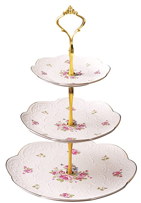 Jusalpha Elegant Embossed 3-tier Ceramic Cake Stand- Cupcake Stand- Tea Party Pastry  sc 1 st  Amazon.com & Amazon.com: Jusalpha Elegant Embossed 3-tier Ceramic Cake Stand ...