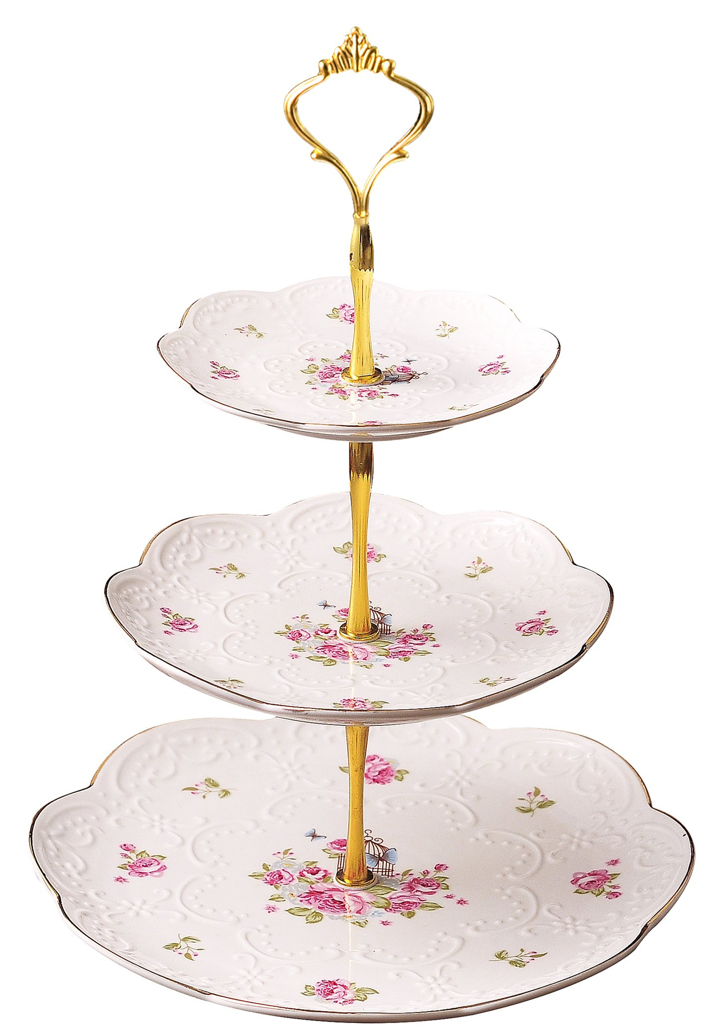 Jusalpha Elegant Embossed 3-tier Ceramic Cake Stand- Cupcake Stand- Tea Party Pastry Serving platter in Gift Box (FL-Stand 03) (3 Tier)