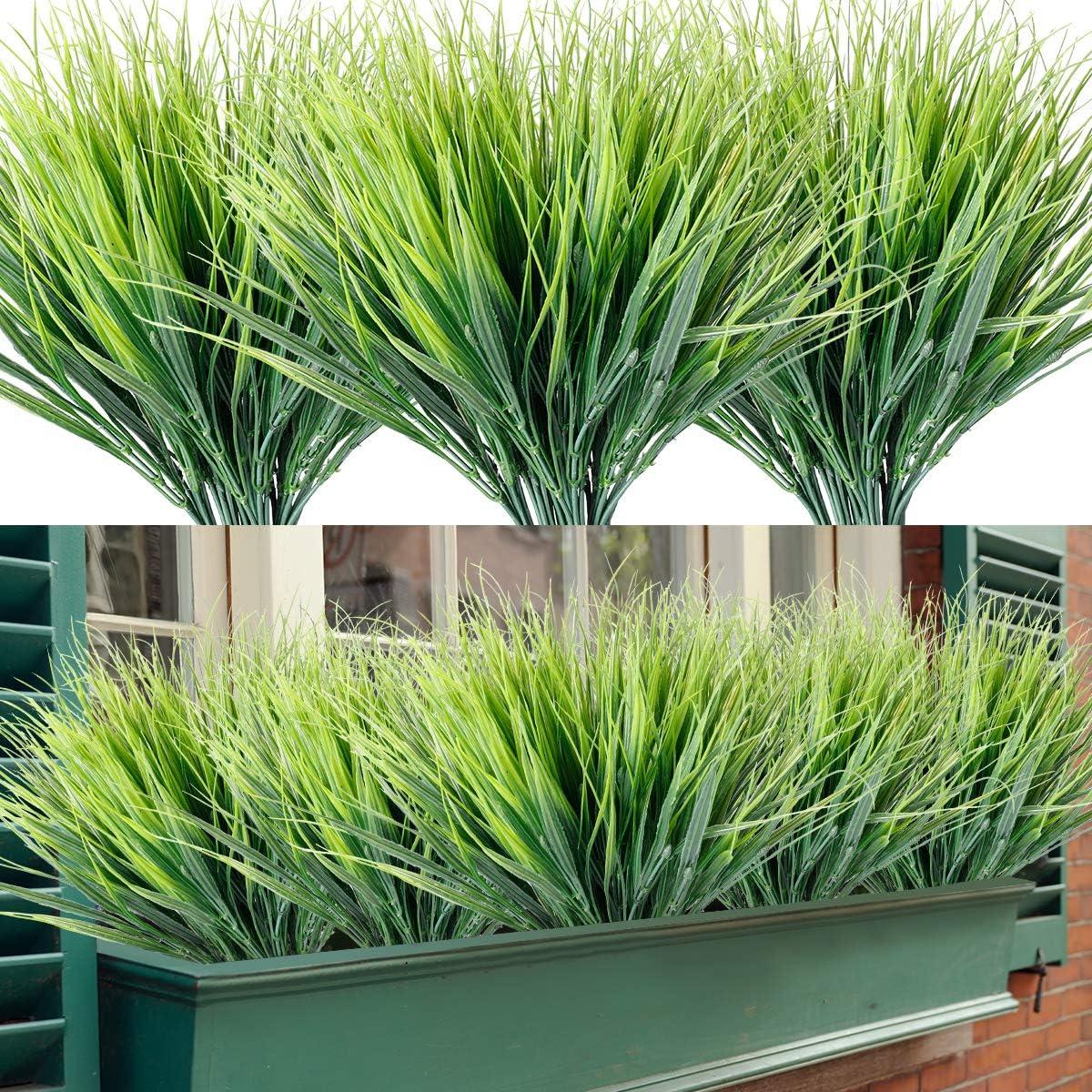 Artificial Grasses 12 Bundles Outdoor UV Resistant Fake Grass No Fade Faux Plastic Plants Garden Window Box Decorating(Green Grass)