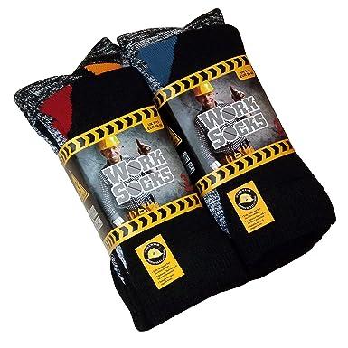 daebb887f94 Lot de 12 Paires de chaussettes de travail ultra résistant-Bottes de  sécurité-Chaussettes-Excellente qualité-chaleur et confort assurés Taille  39-45 Noir  ...