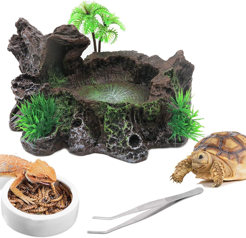 Resin Reptile Platform Artificial Tree Trunk Reptile Food Dish Food Bowl Feeding Tweezers Tongs for Lizard, Gecko, Water Frog, Other Reptiles