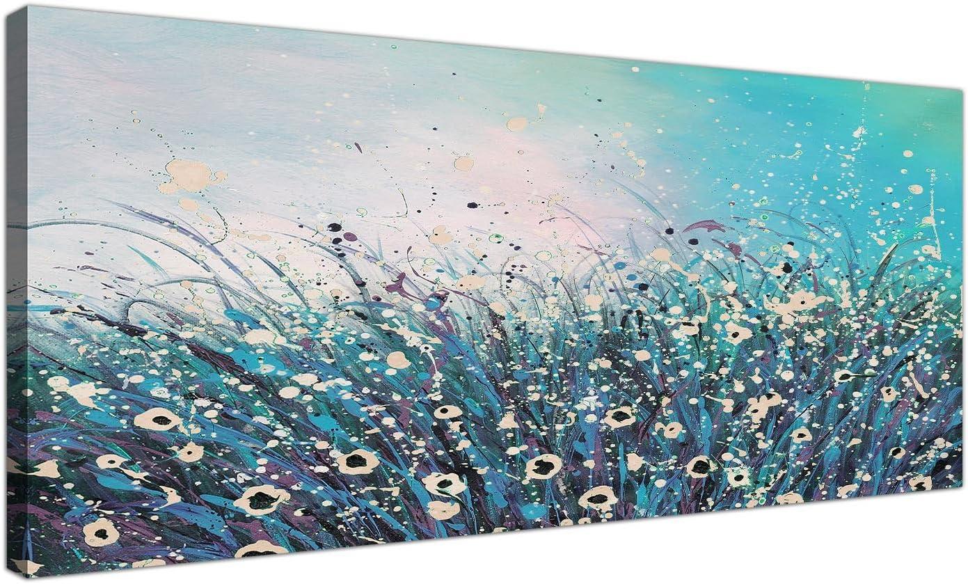 Wallfillers® - Lienzo moderno de colores turquesa y crema con diseño floral abstracto. 120cm de ancho–modelo 1260.