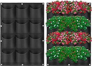 GayunborE Waterproof Vertical Hanging Garden Planter Plant Grow Bag for Flower Vegetable for Indoor/Outdoor and Herbs Flowers Yard Decoration Planting Bag.(12 Pocket, Black)