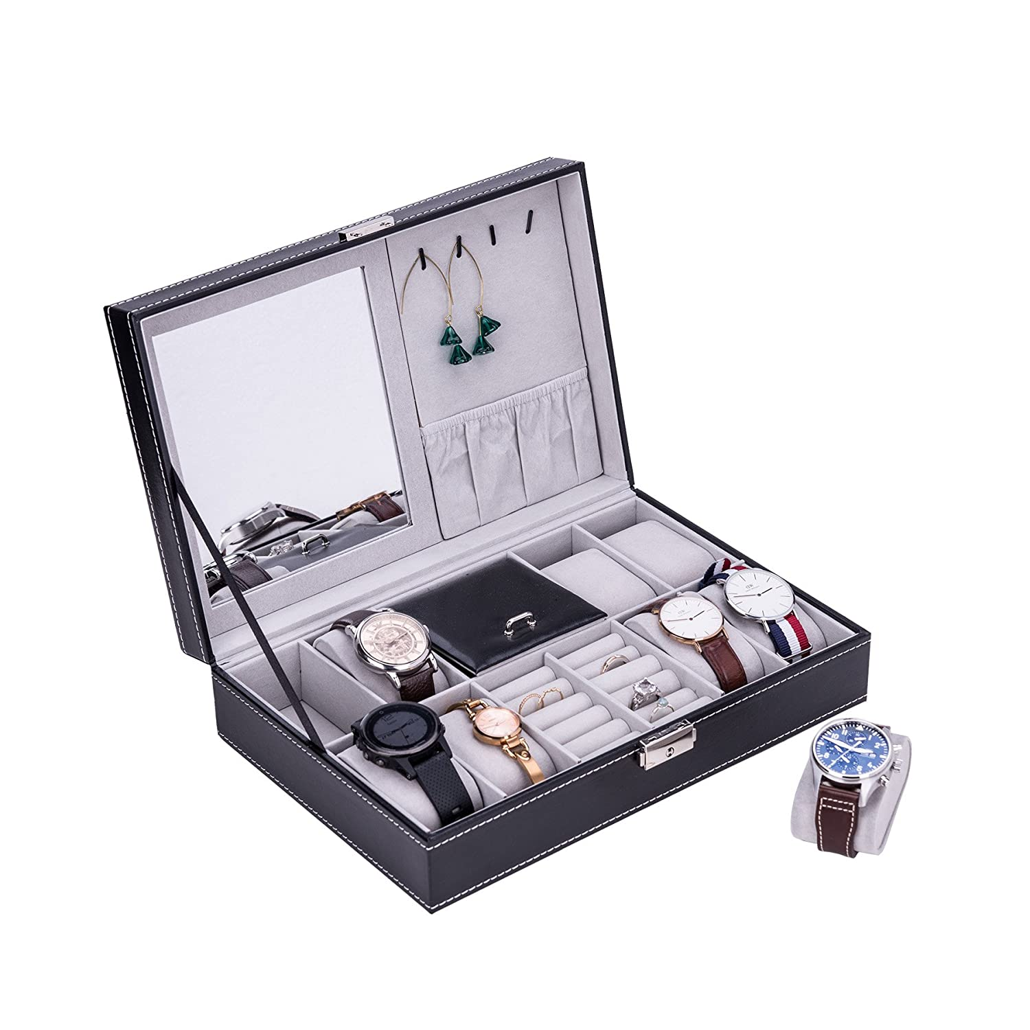 (8 Compartments + Jewellery clips, Watch + Ring + Necklace) CO-Z Black Leather Display Box Jewellery Box Lockable Watch Case (8 Compartments + Jewellery clips, Watch + Ring + Necklace) B074DTJR92 8 Compartments + Jewelry clips Watch + Ring + Necklace Watch + Ring + Necklace 8 Compartments + Jewelry clips