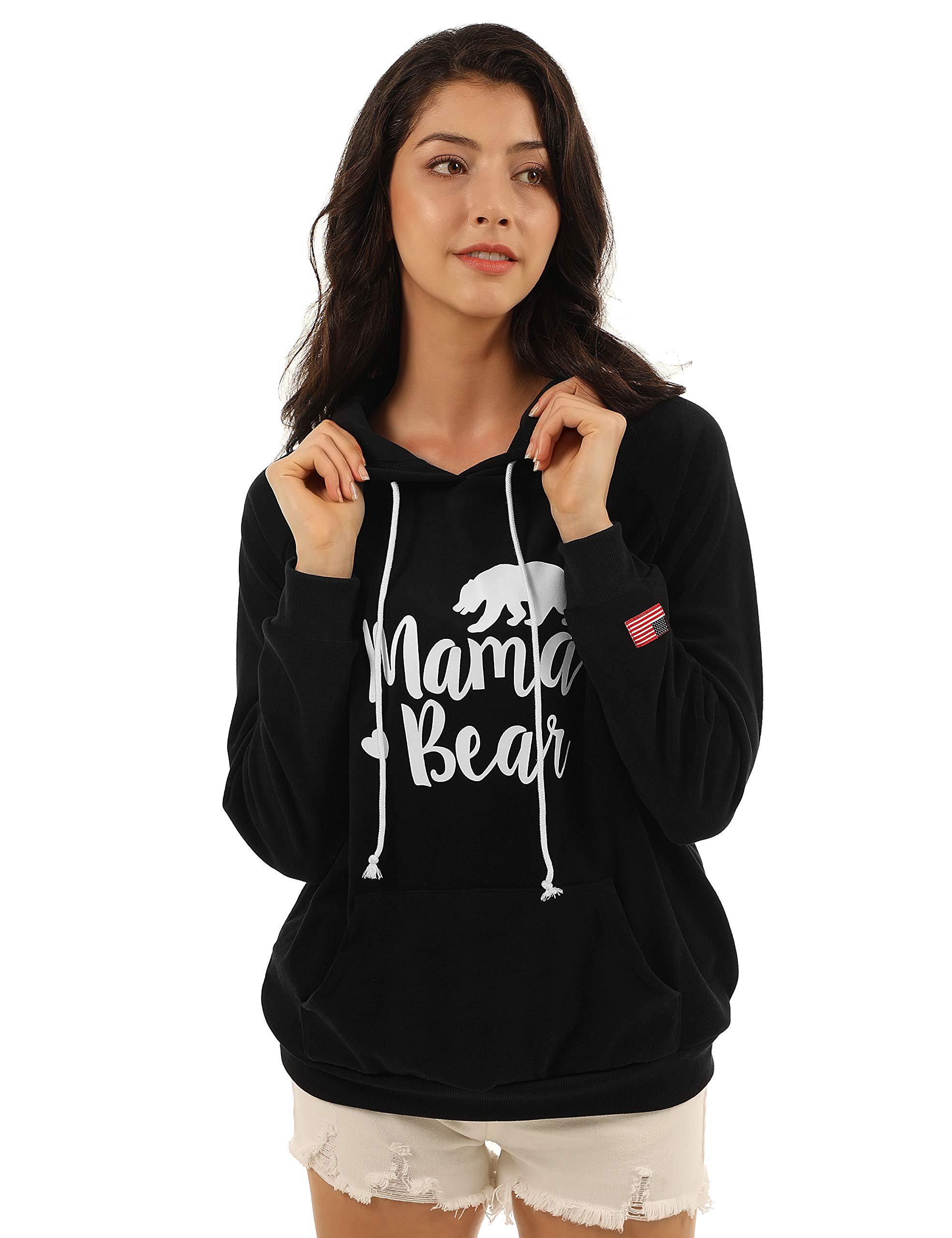 Blooming Jelly Womens Long Sleeve Mama Bear Shirt Pullover Hoodie Pocket Graphic Hooded Sweatshirt (x-Large, Black)