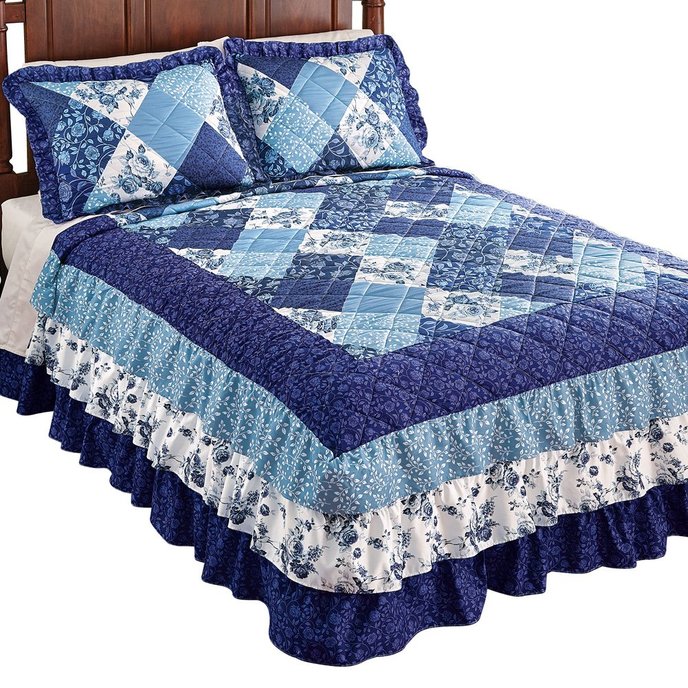 Collections Etc Sonoma Triple Ruffle Floral Patchwork Medium-Weight Bedspread, Blue Patchwork, Queen by Collections Etc (Image #1)