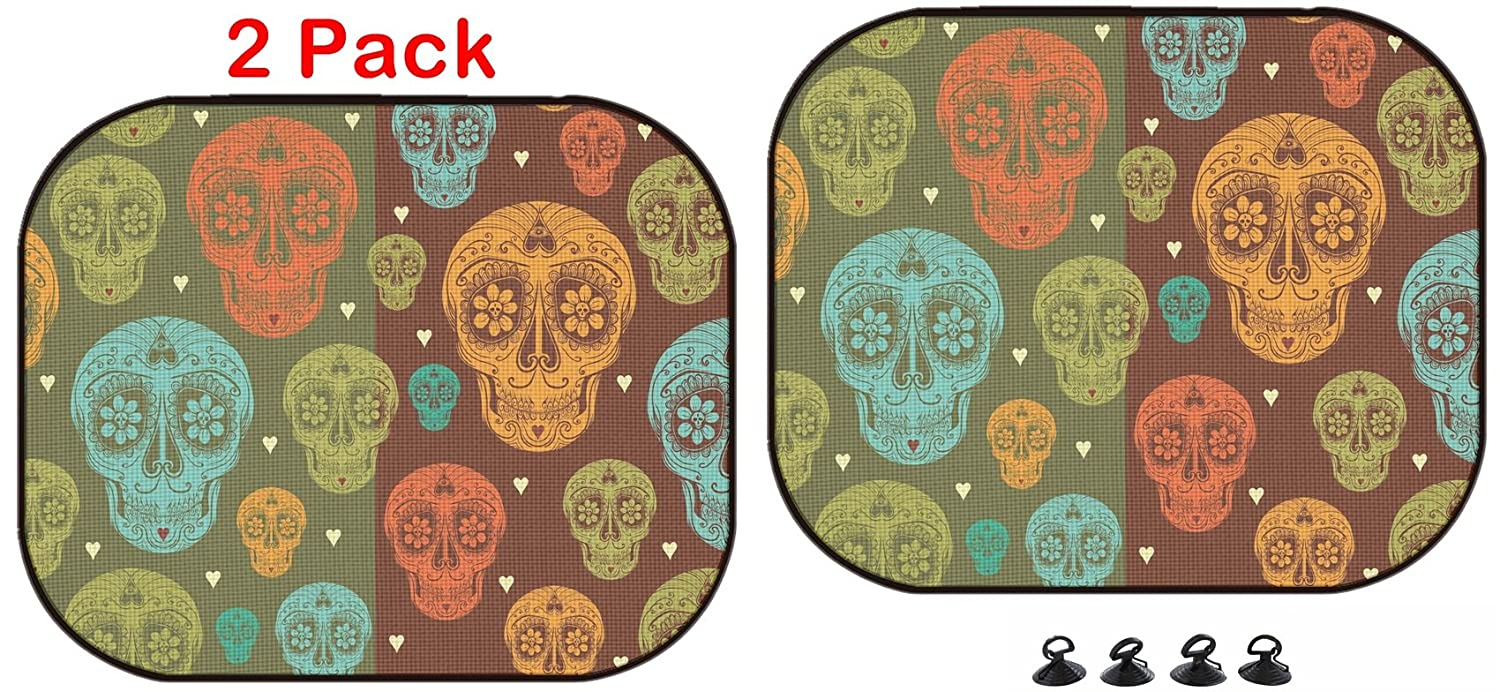 Luxlady Car Sun Shade Protector Block Damaging UV Rays Sunlight Heat for All Vehicles 2 Pack Image ID 31813798 Vector Seamless Pattern with Calavera Sugar Skull and Hearts