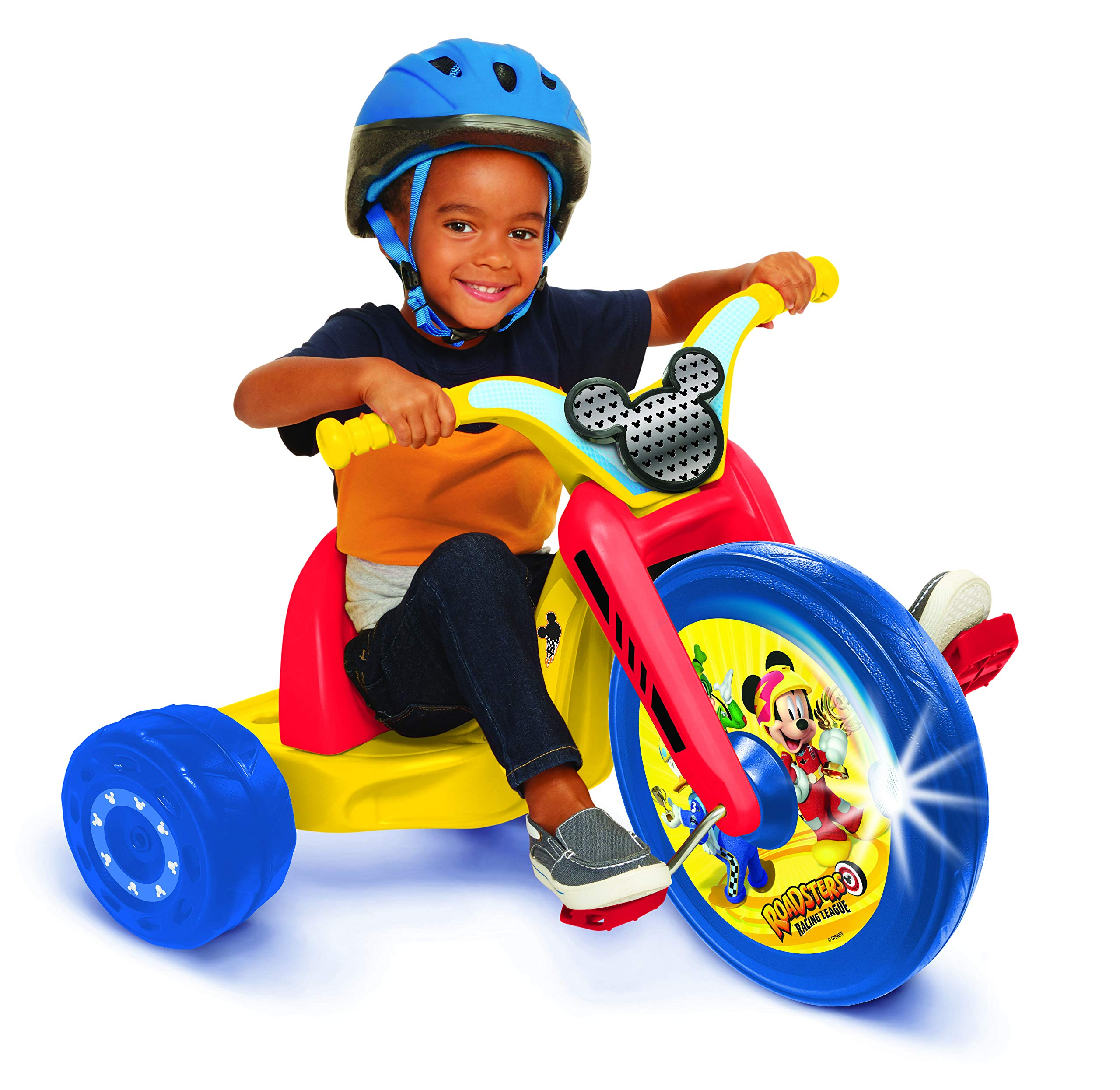 Mickey and the Roadster Racers 15'' Fly Wheel Junior Cruiser Ride-on, Ages 3-7, Yellow/Red/Blue, 20'' W x 22.5'' H x 32.83'' L