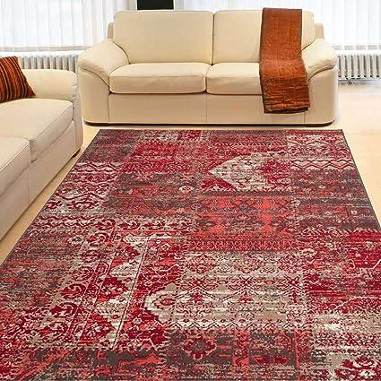 UN AMOUR DE TAPIS - tapis d\'entrée bc patchwork rouge, beige marron,  coraille - 60 x 110 cm - tapis patchwork inspi 5013