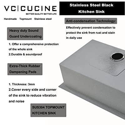 Buy Vccucine Kitchen Sink 33 X 22 Inch Modern Square Single Bowl Stainless Steel Basin Two Hole Black Drop In Topmount Kitchen Sink 18 Gauge Metal Laundry Sink With Strainer Online In Turkey B08vn7pd3f
