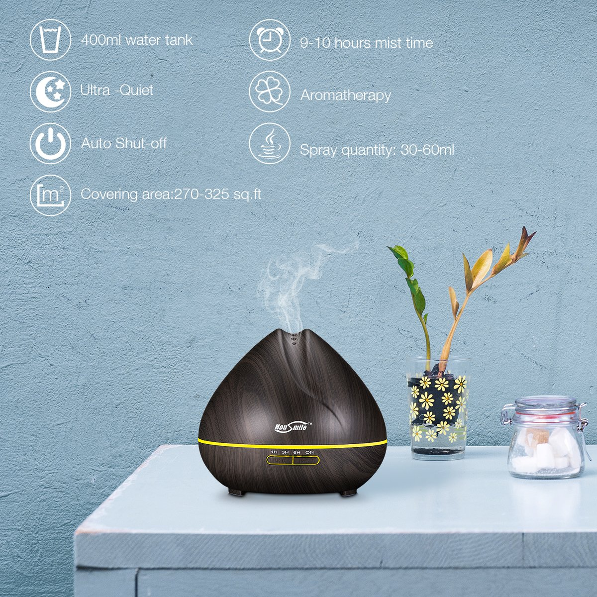 Housmile 400ml Aromatherapy Essential Oil Diffuser Ultrasonic Cool Mist Humidifier with 7 Color LED Lights Waterless Auto Shut-off, Wood Grain