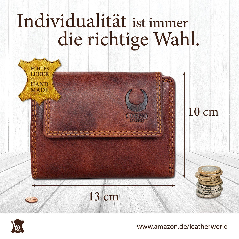 483e17f72059c Geldbörse Damen   Herren Leder I Geldbeutel mit TÜV-zertifizertem RFID  Schutz I Echtleder Brieftasche mit Münzfach I Portemonnaie im Vintage-Look  in ...