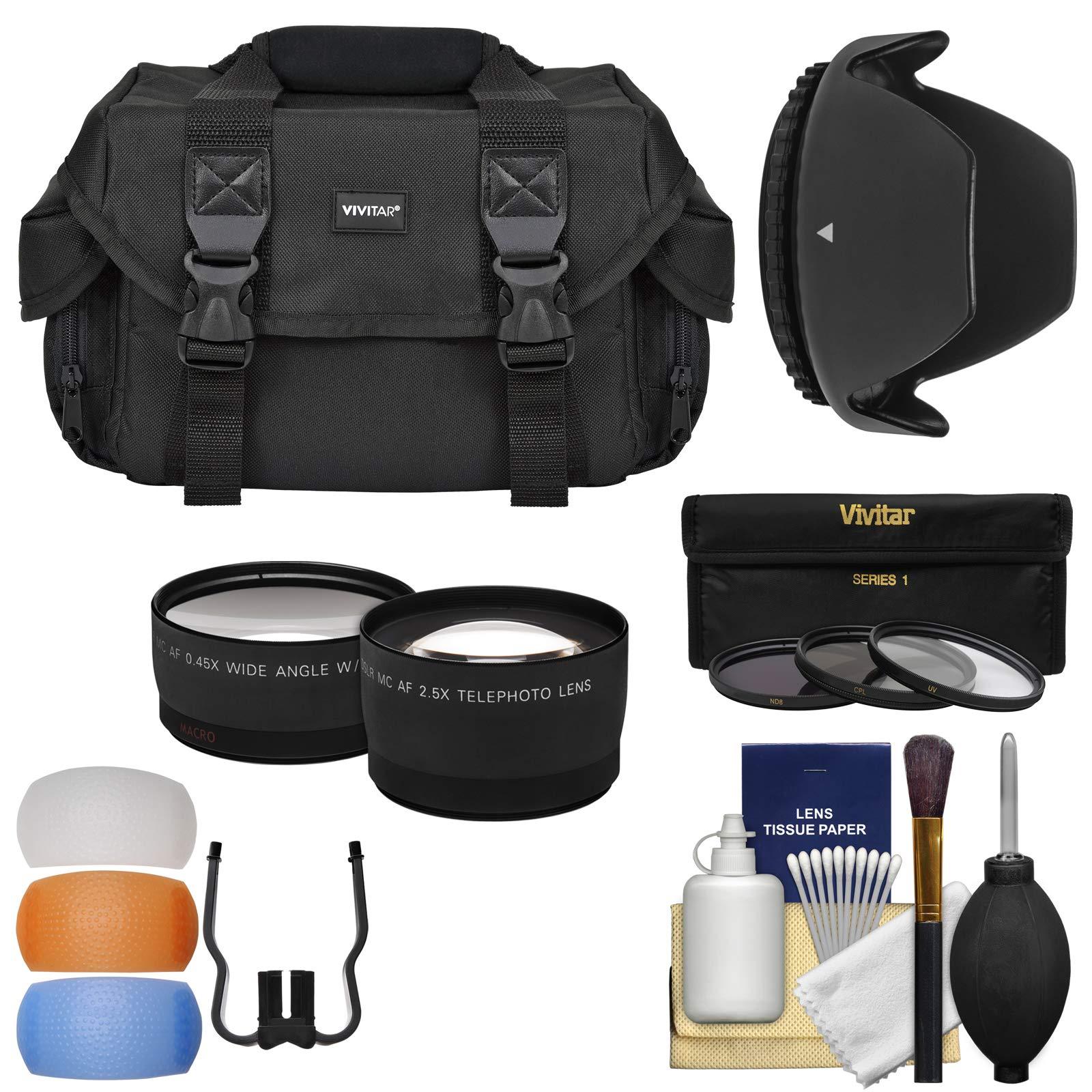 Essentials Bundle for Nikon D3300, D3400, D3500, D5500, D5600 Camera & 18-55mm VR Lens with Case + Wide/Tele Lenses + 3 UV/CPL/ND8 Filters + Hood Kit