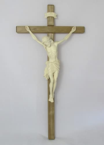 Hand Carved European Crucifix 33 Inches