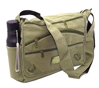 37ca4d67e196 NISUN Imported women s Cotton College One Side Shoulder Bag 13 x 4 x 10.5  inch Olive